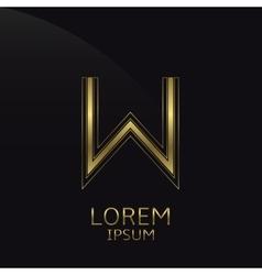 Golden W Letter vector image