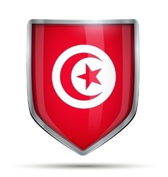 Shield with flag tunisia vector