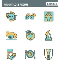 Icons line set premium quality of weight loss vector
