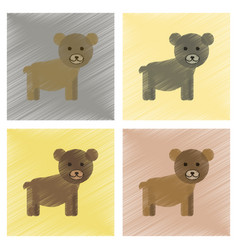 Assembly flat shading style icons cartoon bear vector