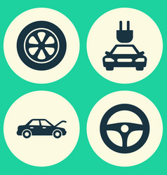 Automobile icons set collection of plug drive vector
