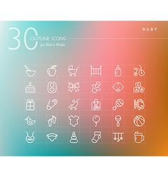 Baby outline icons set vector image vector image