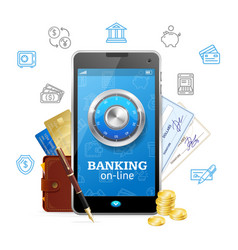 banking online concept mobile phone app vector image vector image