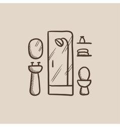 Bathroom sketch icon vector image vector image