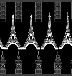 big ben and eiffel tower vector image