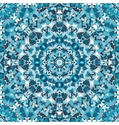 Blue ornamental circular kaleidoscope pattern vector