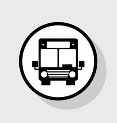 Bus sign flat black icon in vector