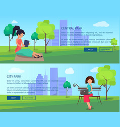 central city park banners with people and gadgets vector image vector image