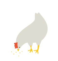 Chicken eating something vector image vector image