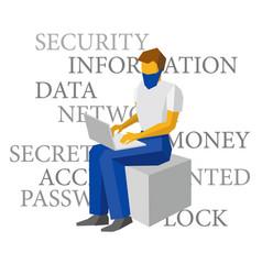 Computer hacker working with laptop vector
