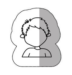 Contour sticker boy icon vector
