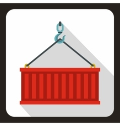 Crane hook lifts red container icon flat style vector