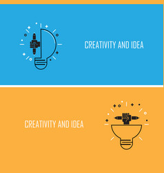 Creative bulb light idea and pencil hand iconflat vector