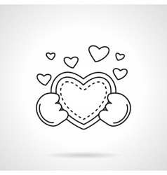 Cute heart with hands flat line icon vector image vector image