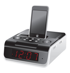 Docking station alarm clock vector