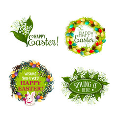 easter spring holiday cartoon badge set design vector image vector image