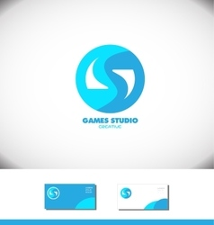 Games gaming logo blue icon vector