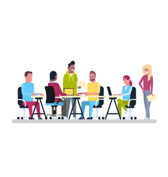 group of young business people working together vector image vector image