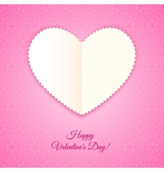 Heart of paper Valentines Card vector image