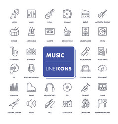 line icons set music vector image vector image