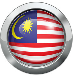 Malaysian flag metal button vector image vector image