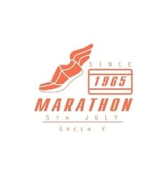 Marathon running orange label design vector