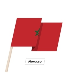 Morocco ribbon waving flag isolated on white vector