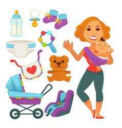 Mother holding newborn child and baby accessories vector