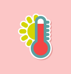 paper sticker on stylish background of thermometer vector image
