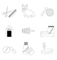 Pet care linear icons set vector