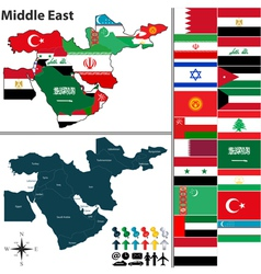 Political map of middle east with flags vector