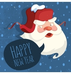 Santa Claus With A Russian Ear Hat Happy New Year vector image