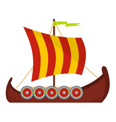 scandinavian ship icon flat style vector image
