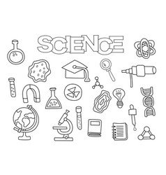 Science elements hand drawn set vector
