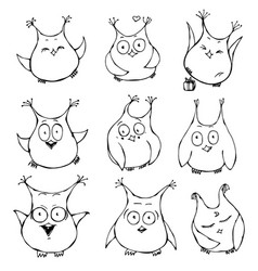 set of cute cartoon owls with various emotions vector image