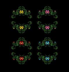 set of decorative floral wreaths vector image