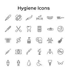 Simple Outline Set Hygiene of Icons for vector image