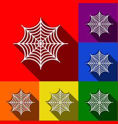 Spider on web set of icons vector