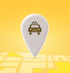 Taxi pin over map vector image