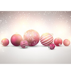Winter background with magenta christmas balls vector image