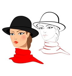 Young woman in a hat vector image