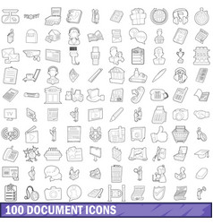 100 document icons set outline style vector