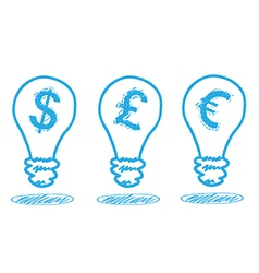 Money icon in the lamp vector