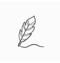 Feather sketch icon vector image