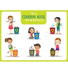 Green kids segregating trash recycling concept vector
