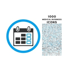 Calendar week rounded icon with 1000 bonus icons vector
