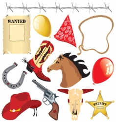 Cowboy birthday party clip art vector
