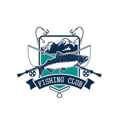 fishing club icon with salmon fish vector image