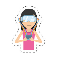 Cartoon girl with vr headset control vector