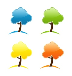 Four seasonal icons with tree vector